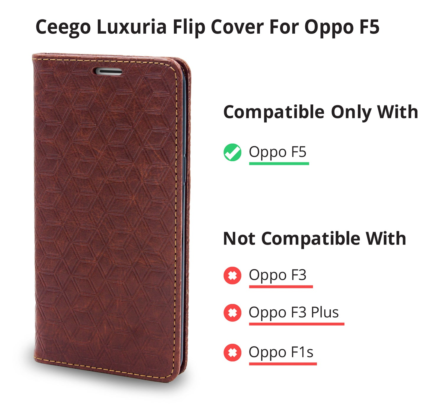 Ceego Magnetic Lock Flip Cover for Oppo F5 - Walnut Brown – Cool Mango