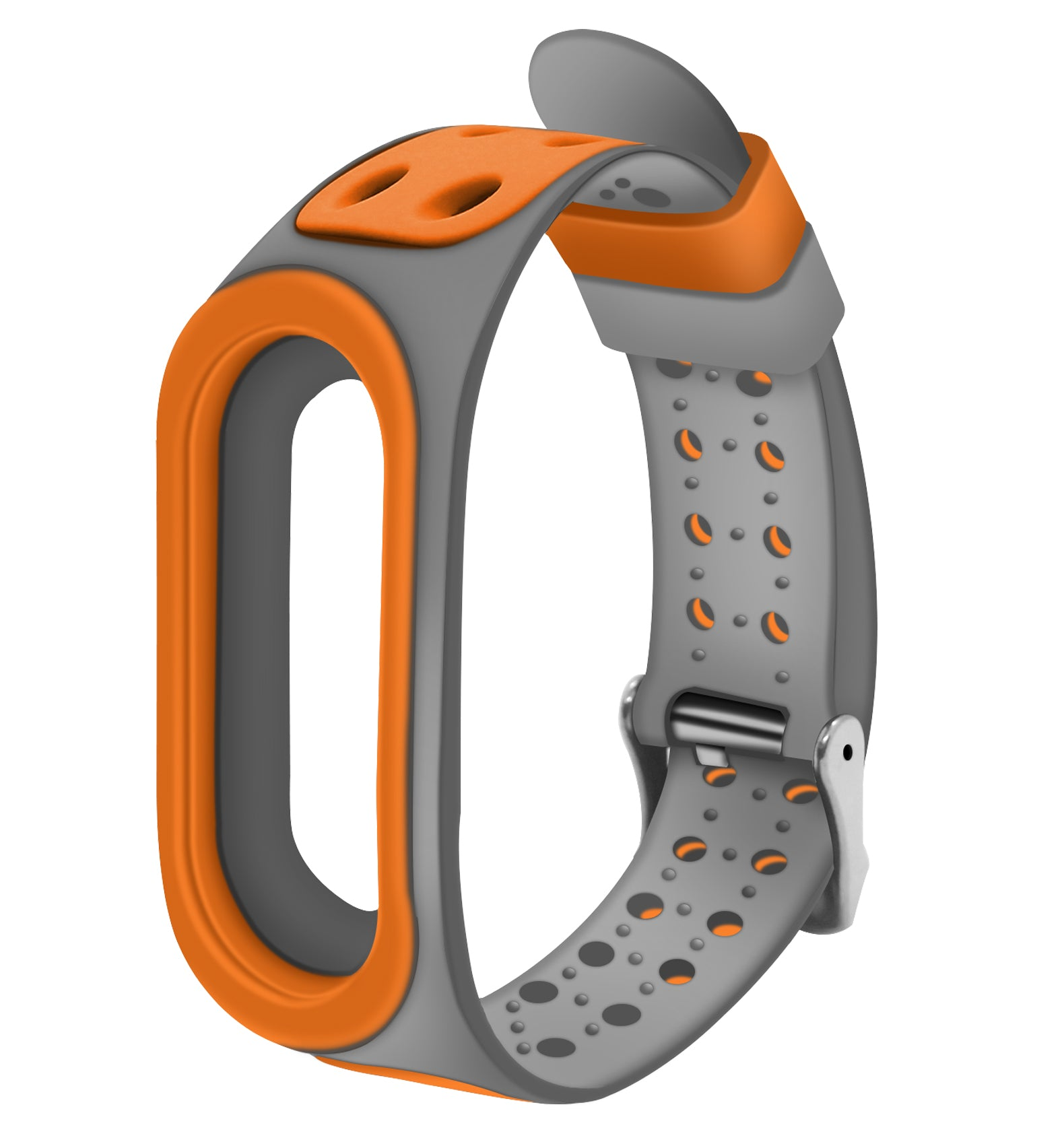 GoFree Replacement Strap for Xiaomi Mi Band 4 / 3 [With Metal Buckle]  (Orange & Grey)