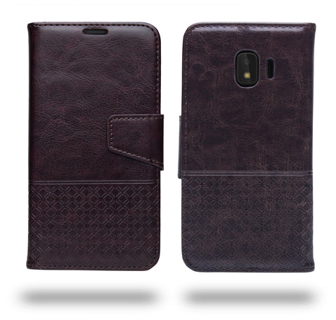 Ceego Luxuria Compact Wallet Flip Cover for Samsung Galaxy J2 Core (Chestnut Brown)
