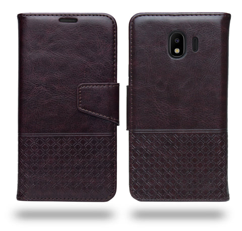Ceego Luxuria Flip Cover for Samsung Galaxy J4 2018 - Chestnut Brown