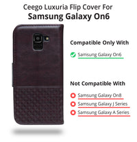 Ceego Luxuria Flip Cover for Samsung Galaxy On6 - Chestnut Brown