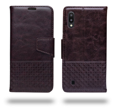 Ceego Luxuria Wallet Flip Cover for Samsung Galaxy M10 (Chestnut Brown)