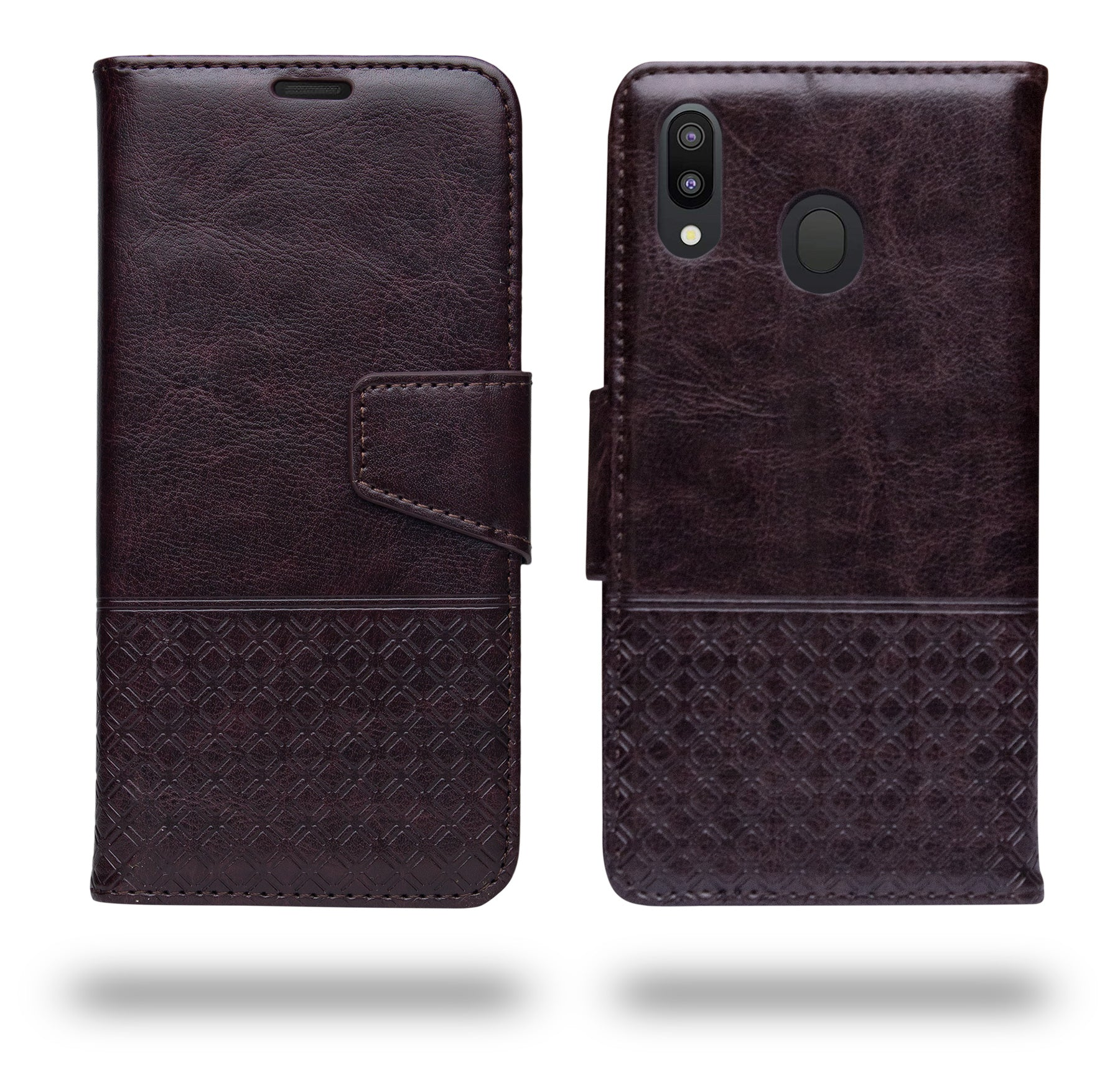 Ceego Luxuria Wallet Flip Cover for Samsung Galaxy M20 (Chestnut Brown)
