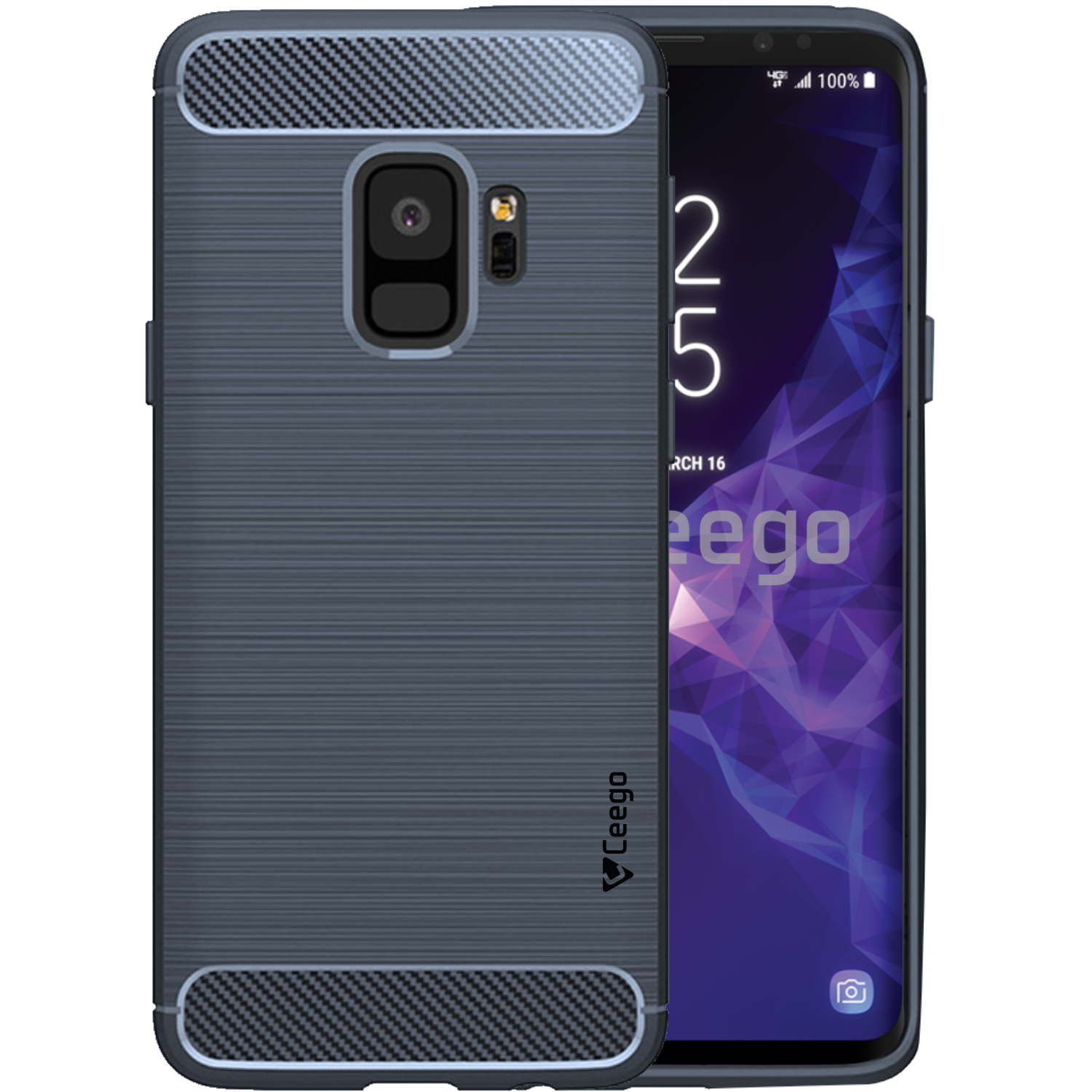 Ceego Carbon Fiber Shield Back Case for Samsung Galaxy S9  – Midnight Blue