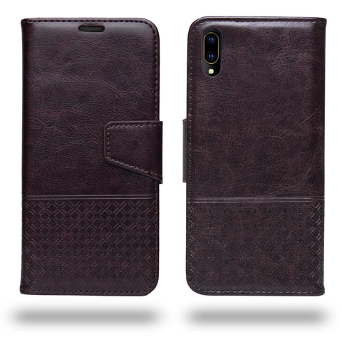 Ceego Luxuria Compact Wallet Flip Cover for Vivo V11 Pro (Chestnut Brown)