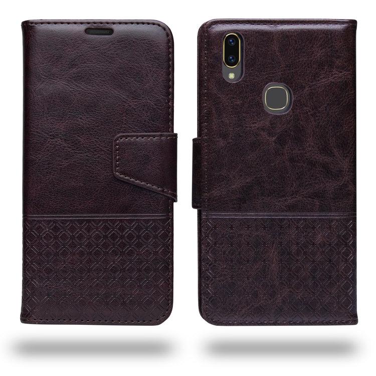 Ceego Luxuria Compact Wallet Flip Cover for Vivo V9 / Vivo V9 Youth (Chestnut Brown)
