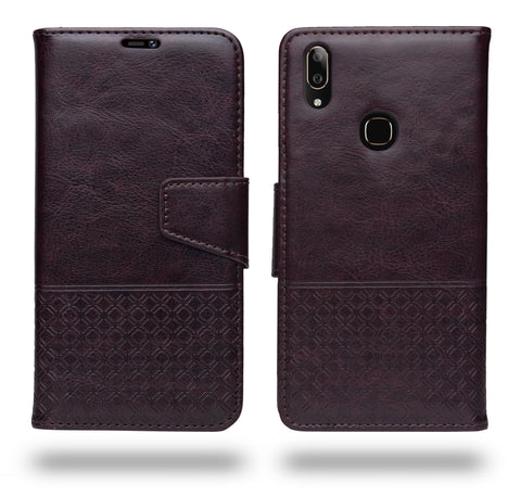 Ceego Luxuria Flip Cover for Vivo V9 / Vivo V9 Youth - Chestnut Brown