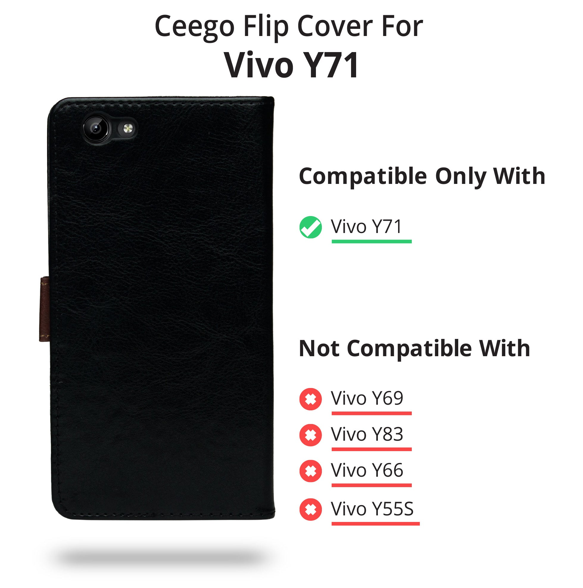 best website 25ae2 fee03 Ceego Flip Cover for Vivo Y71 (Black) – Cool Mango