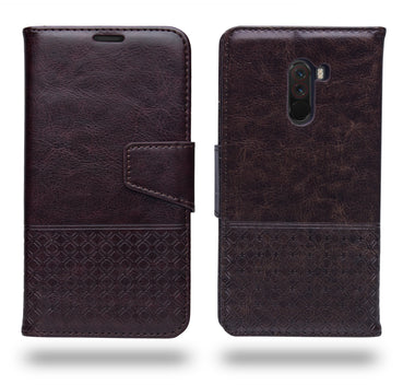 Ceego Luxuria Compact Wallet Flip Cover for Xiaomi Pocophone f1 (Chestnut Brown)