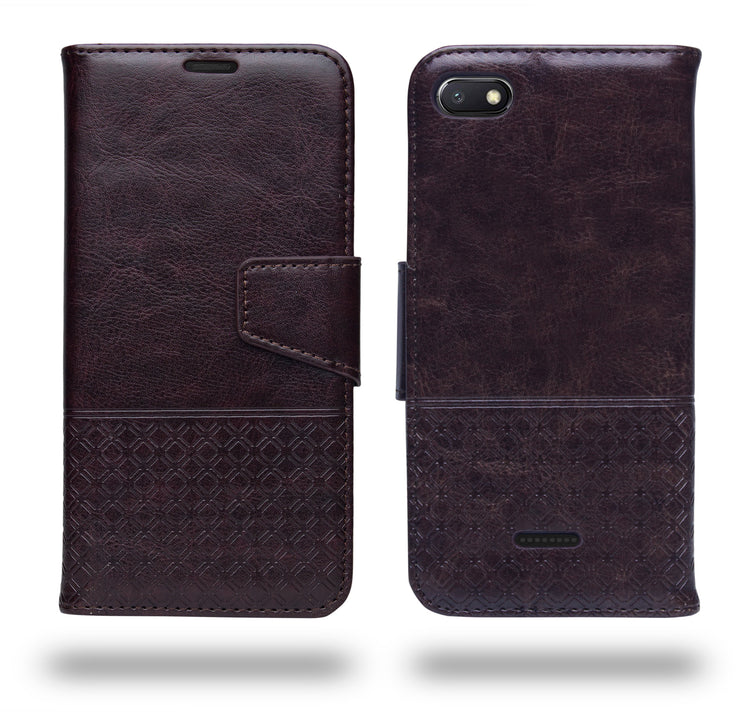 Ceego Luxuria Compact Wallet Flip Cover for Xiaomi Redmi 6A (Chestnut Brown)