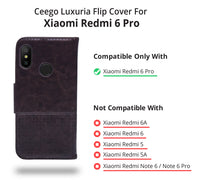 Ceego Luxuria Compact Wallet Flip Cover for Xiaomi Redmi 6 Pro (Chestnut Brown)