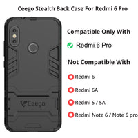 Ceego Stealth Defence Back Case for Xiaomi Redmi 6 Pro – Matte Black