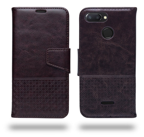 Ceego Luxuria Compact Wallet Flip Cover for Xiaomi Redmi 6 (Chestnut Brown)