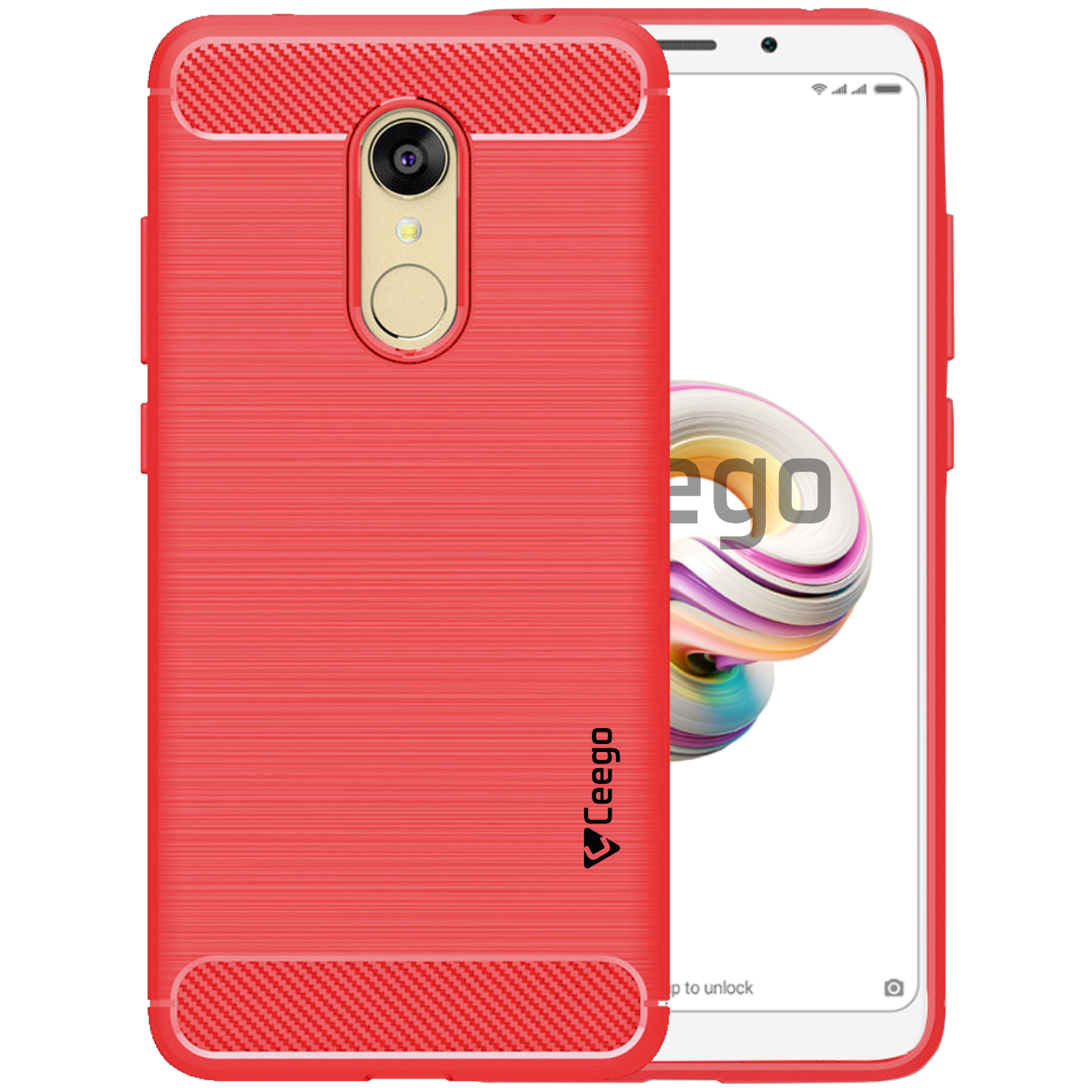 Ceego Carbon Fiber Shield Back Case for Xiaomi Redmi Note 5  – Flaming Red