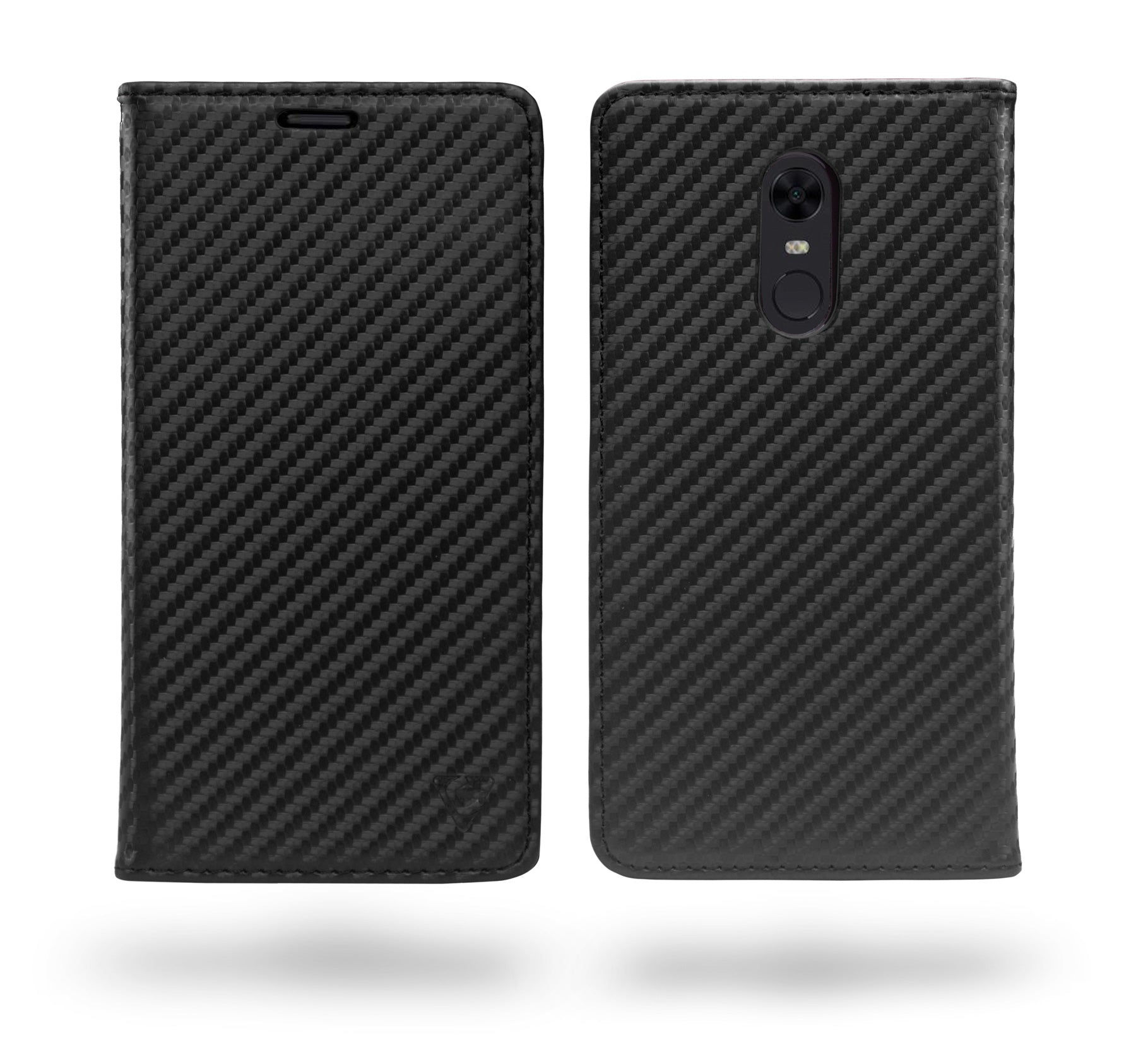 Ceego Compact Carbon Fiber Flip Cover for Xiaomi Redmi Note 5 With Magnetic Lock (Super Black)