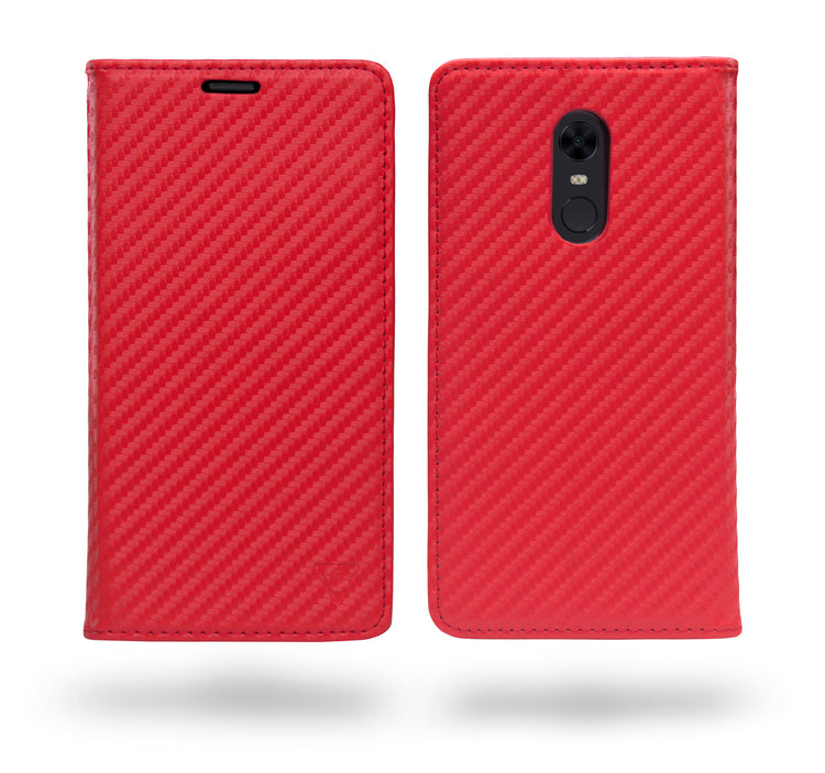 Ceego Compact Carbon Fiber Flip Cover for Xiaomi Redmi Note 5 With Magnetic Lock (Scorching Red)