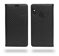Ceego Compact Carbon Fiber Flip Cover for Xiaomi Redmi Note 5 Pro With Magnetic Lock (Super Black)