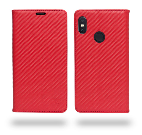 Ceego Compact Carbon Fiber Flip Cover for Xiaomi Redmi Note 5 Pro With Magnetic Lock (Scorching Red)