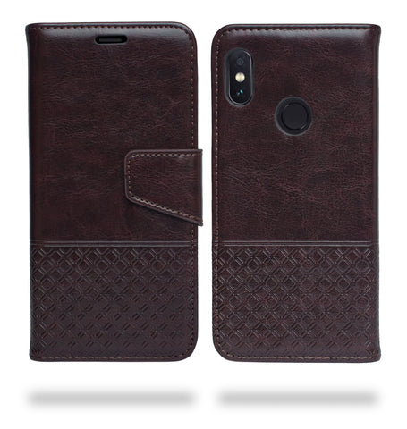 Ceego Luxuria Flip Cover for Xiaomi Redmi Note 5 Pro - Chestnut Brown - Patterned
