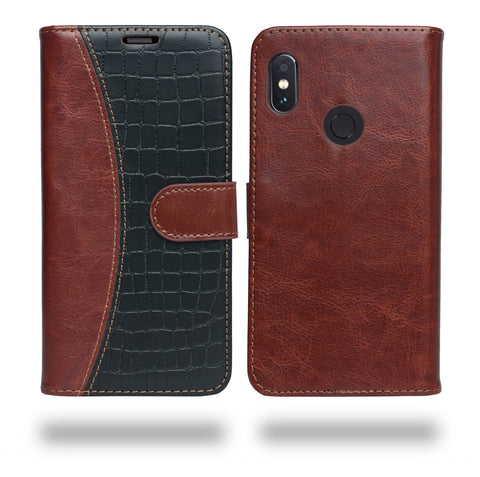 Ceego Luxuria Flip Cover for Xiaomi Redmi Note 5 Pro - Brown & Black Fusion