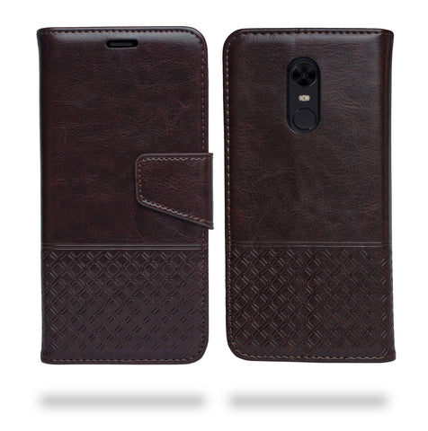 Ceego Luxuria Flip Cover for Xiaomi Redmi Note 5 - Chestnut Brown - Patterned