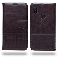 Ceego Luxuria Compact Wallet Flip Cover for Xiaomi Redmi Note 6 Pro (Chestnut Brown)