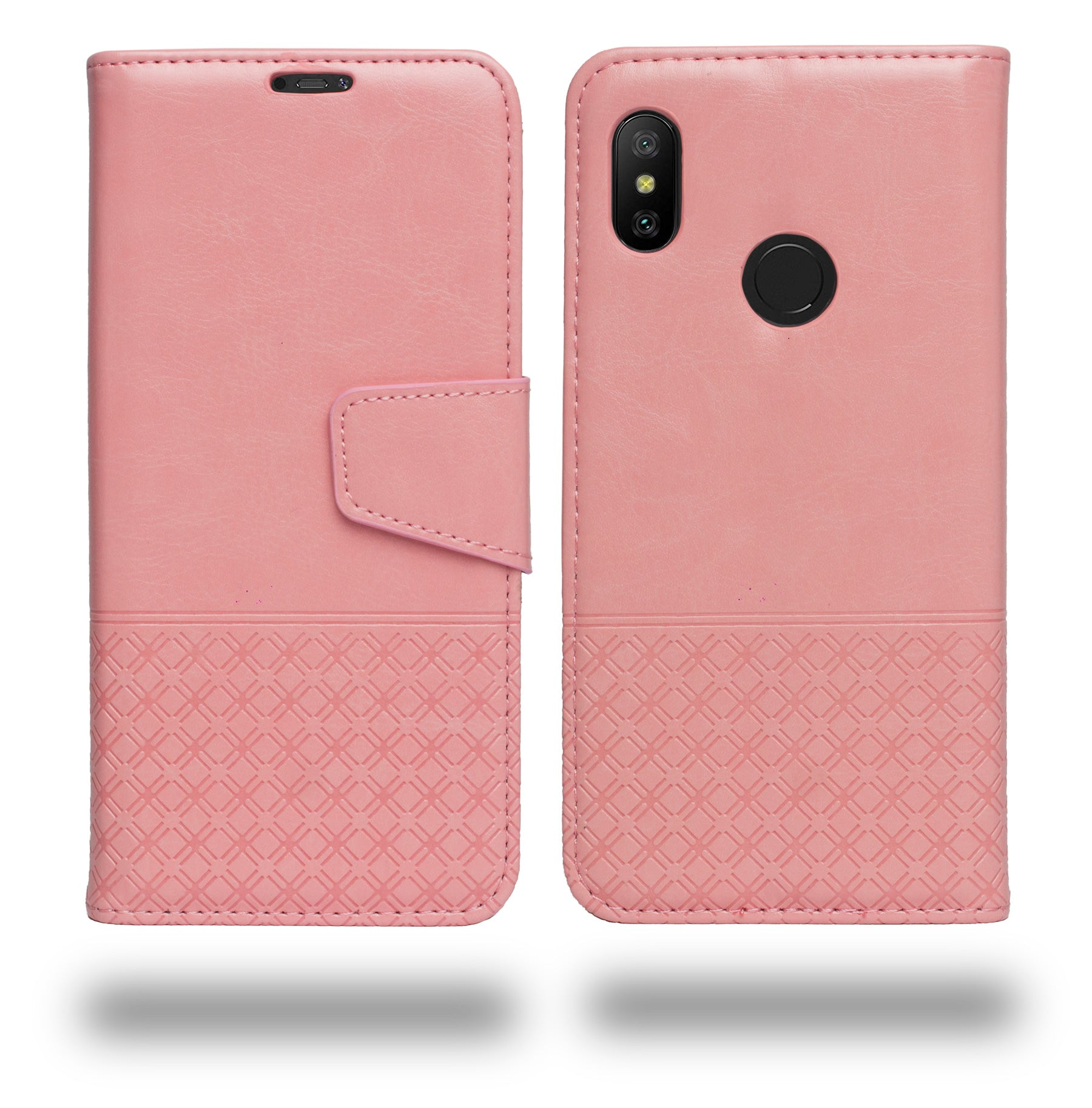 Ceego Luxuria Compact Wallet Flip Cover for Xiaomi Redmi Note 6 Pro (Carnation Pink)
