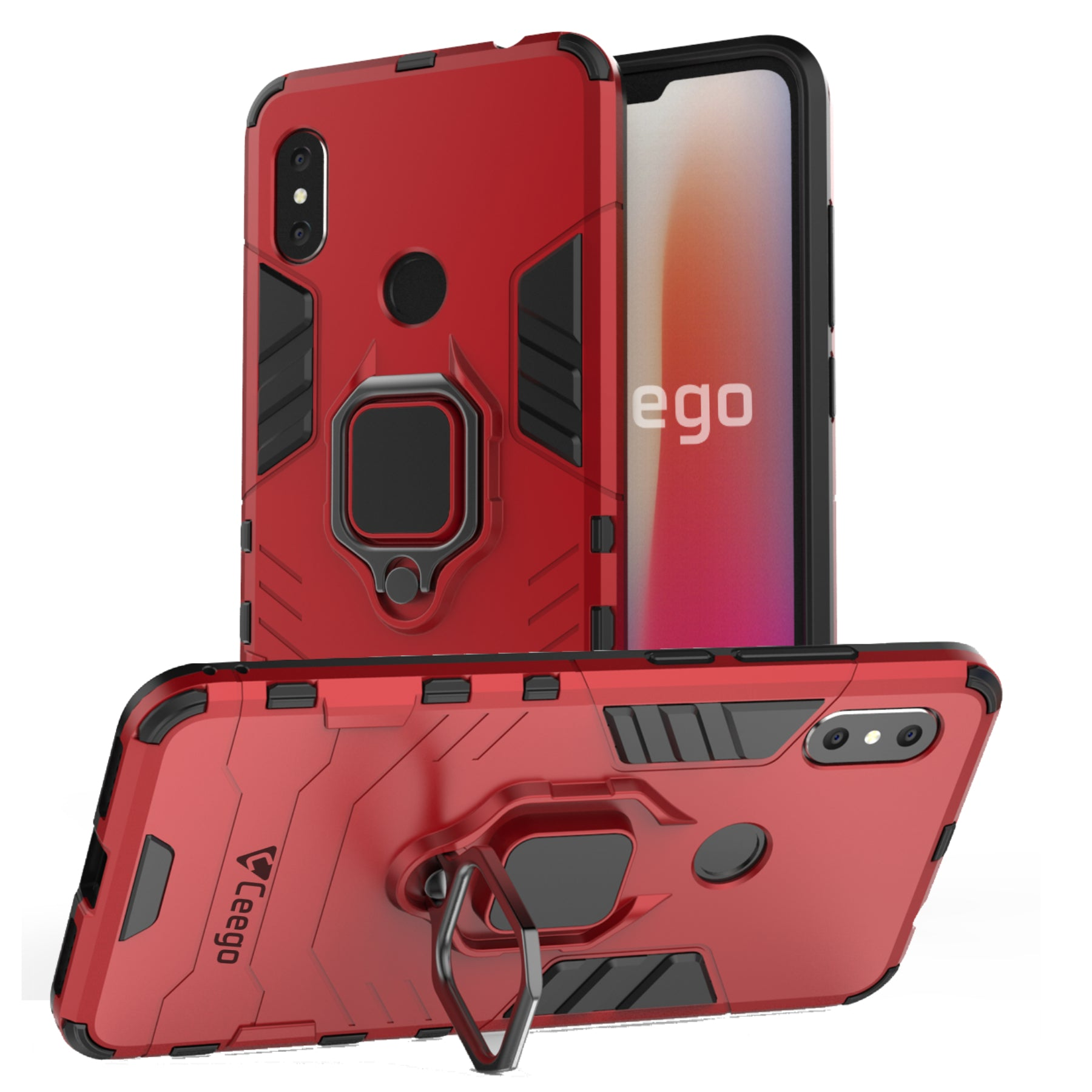 Ceego Stealth Defence Back Case for Xiaomi Redmi Note 6 Pro – Matte Red