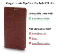 Ceego Magnetic Lock Flip Cover for Redmi Y1 Lite - Walnut Brown
