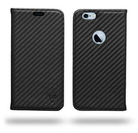 Ceego Compact Carbon Fiber Flip Cover for iPhone 6/6s With Magnetic Lock (Super Black)