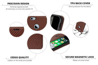 Ceego Magnetic Lock Flip Cover for iPhone 6/6s - Carbon Fiber - Bronze