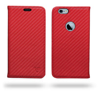 Ceego Compact Carbon Fiber Flip Cover for iPhone 6/6s With Magnetic Lock (Scorching Red)
