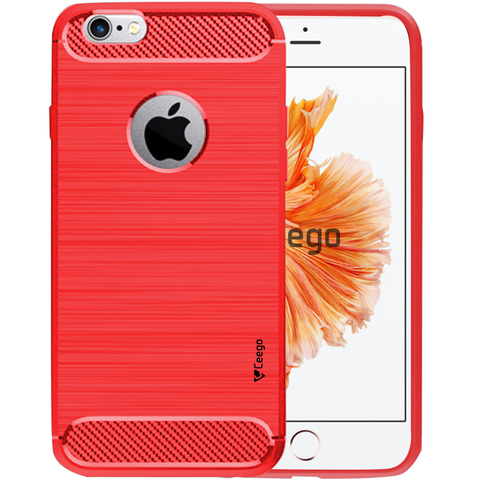 Ceego Carbon Fiber Shield Back Case for Apple iPhone 6 / 6s  – Flaming Red