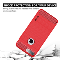 Ceego Carbon Fiber Shield Back Case for Apple iPhone 7 plus  – Flaming Red