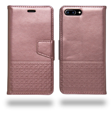 Ceego Luxuria Wallet Flip Cover for Apple iPhone 8 Plus (Carnation Pink)