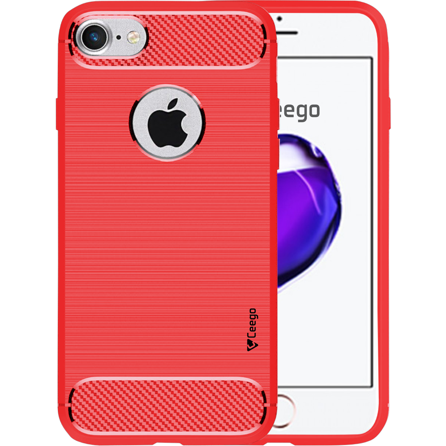Ceego Carbon Fiber Shield Back Case for Apple iPhone 7  – Flaming Red