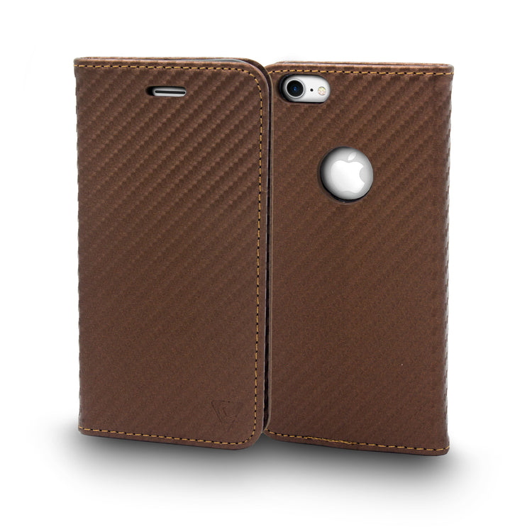 Ceego Magnetic Lock Flip Cover for iPhone 8 - Carbon Fiber - Bronze