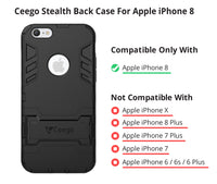 Ceego Stealth Defence Back Case for Apple iPhone 8  – Matte Black