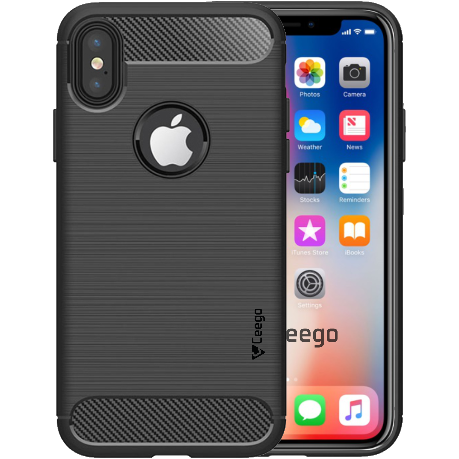 Ceego Carbon Fiber Shield Back Case for iPhone X  – Matte Black