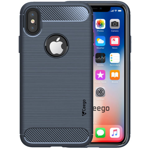 Ceego Carbon Fiber Shield Back Case for iPhone X  – Midnight Blue