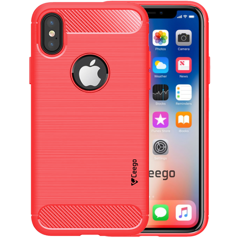 Ceego Carbon Fiber Shield Back Case for iPhone X  – Flaming Red