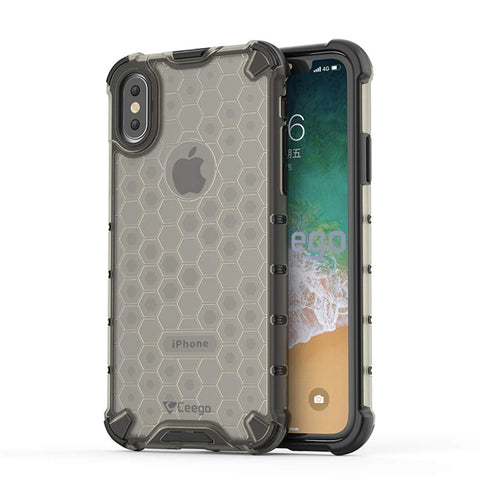 Ceego Shock Protection iPhone X / iPhone XS Back Cover - HexaShell Series Back Cases & Cover for Apple iPhone X / Apple iPhone XS (Fossil Grey)