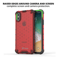 Ceego Shock Protection iPhone X / iPhone XS Back Cover - HexaShell Series Back Cases & Cover for Apple iPhone X / Apple iPhone XS (Orange Red)