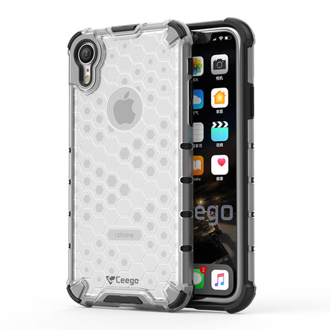 Ceego Shock Protection iPhone XR Back Cover - HexaShell Series Back Cases & Cover for Apple iPhone XR (Transparent Clear)