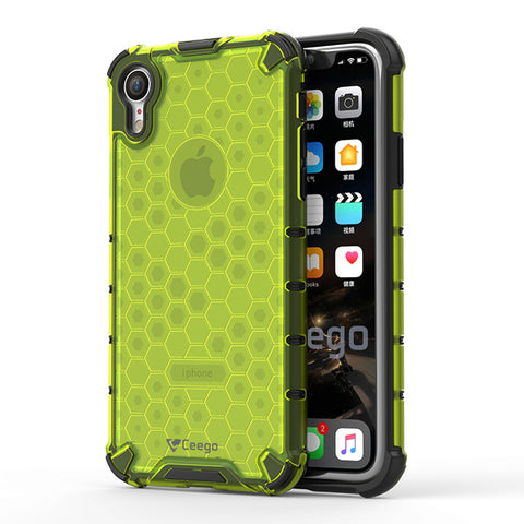 Ceego Shock Protection iPhone XR Back Cover - HexaShell Series Back Cases & Cover for Apple iPhone XR (Lime Green)