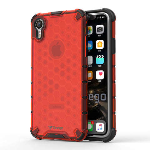 Ceego Shock Protection iPhone XR Back Cover - HexaShell Series Back Cases & Cover for Apple iPhone XR (Orange Red)