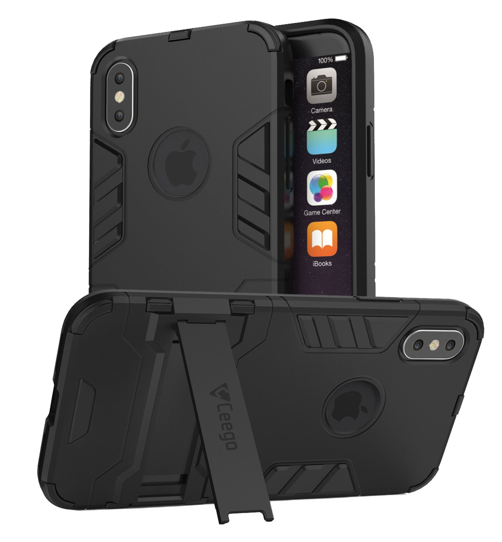Ceego Stealth Defence Back Case for iPhone X  – Matte Black