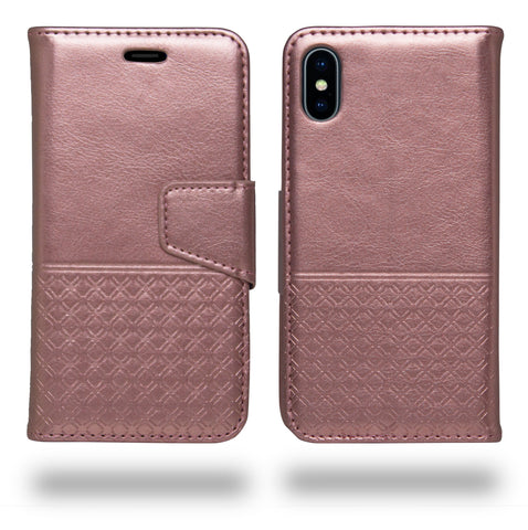 Ceego Luxuria Wallet Flip Cover for Apple iPhone X (Carnation Pink)