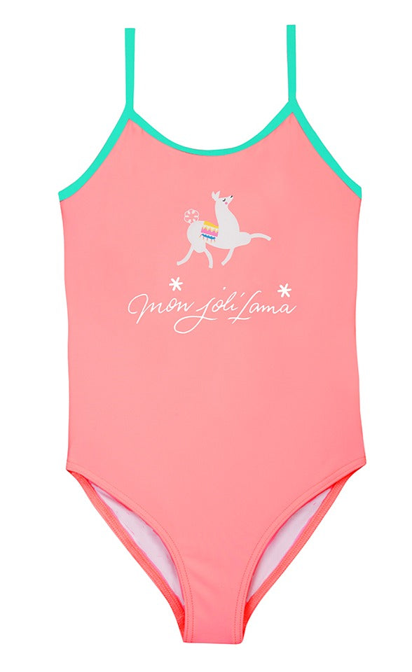 Girls Eponine Lama Anti UV UPF 50+Swimsuit