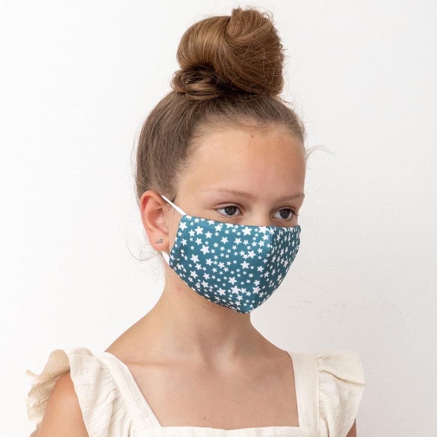 Child Star Print Green Face mask